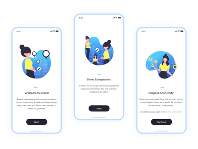 Onboarding screen - Location Based Social App illustrations flat ui onboarding app