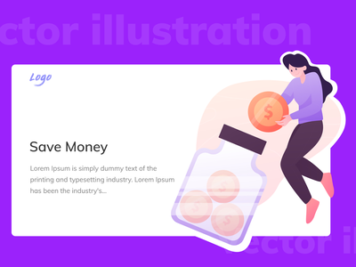Save Money and Financial service Flat illustration mobile web flat illustration art save money save illustrations illustration