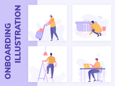 On Demand Service Onboarding illustration minimal design ui app illustrations mobile onboarding web flat illustration service electrician computer repair plumber movers package