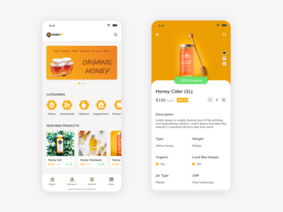 Home Screen and Product Details screen for E-Commerce App