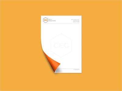 CEG Hire & Productions grey orange logo corporate stationery identity branding