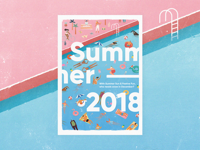 Pool Party! an Xmas card for Digitas Liquorice unicorn festive 2018 pool typography layout digital illustration