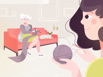 RoboMG - ZonMw 02 grandma sofa knitting cat living room quality time senior citizens elderly care vector illustration happy character design character
