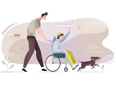 RoboMG - ZonMw 03 spending time together outdoor helping quality time active happy wheelchair fetch throwing ball fun dog buddy vector illustration character design character healthcare care health