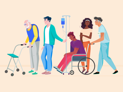 RoboMG - ZonMw 05 attention assistance people nurse wheel chair together illustration ill helping healthcare health character design character caring care