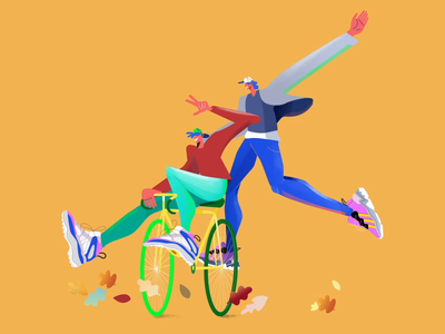 Autumn 3 kicks sneakers bike fun play people characterdesign character aftereffects motionlovers motionmass motiongraphics motionillustration movingillustration animation illustration seasons leaves fall autumn