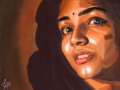 Portrait of Rajisha Vijayan infinite painter portrait water color art