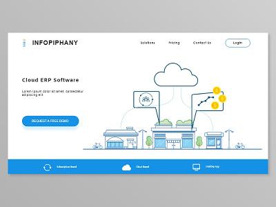 Landing Page erp cloudapp money landing website business illustration