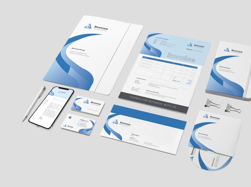 Brand Identity blue price tag presentation folder letterhead invoice design coverletter logo business card clean graphic design corporate stationary design brand design brand identity agency