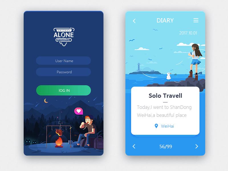 Illustrations of alone series in  UI design