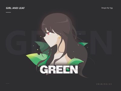 Girl and Leaf long hair quiet sexy green leaf ygg illustration girl