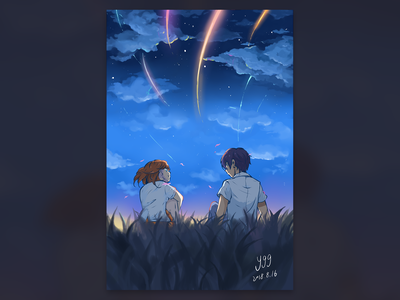 stargazing  with lover night star love ygg player illustration