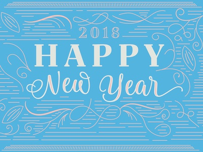 Tailor Brands New Year's lettering typography type blue 2018 year new happy