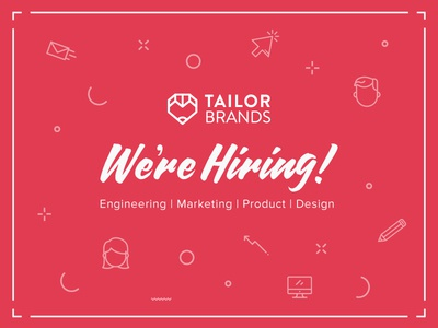 Hiring at Tailor Brands! heart pencil red tailor brands typography icon design