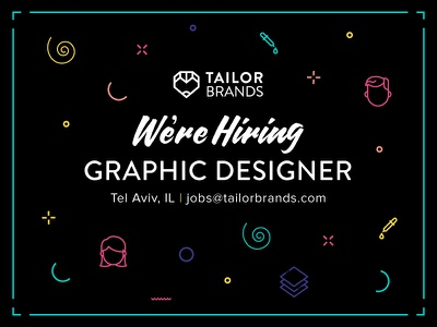 Hiring at Tailor Brands! hiring heart pencil red tailor brands typography icon design