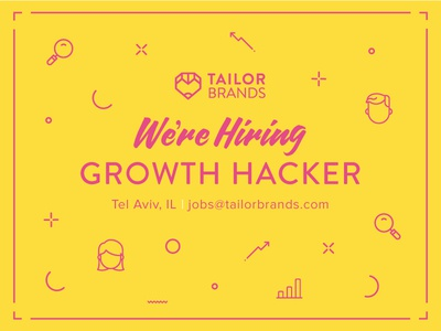 Hiring at Tailor Brands! yellow pink hiring heart pencil red tailor brands typography icon design