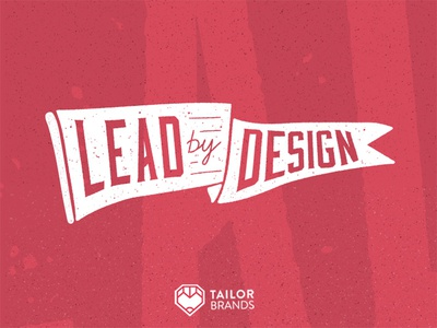 Lead By Design illustration heart pencil red tailor brands typography icon design