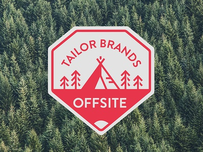 Offsite Event 2017 sticker trees tailor brands red tent offsite camping nature illustration design trip logo