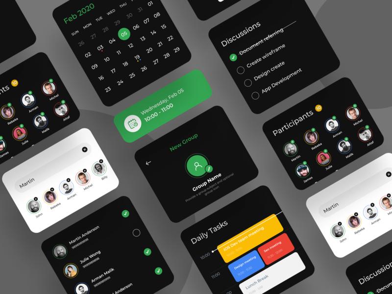 App elements profile ux ui cards app card design app design app