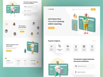 E learning online education 3d illustration illustraion 3d education teaching learning e commerce landingpage website web e learning