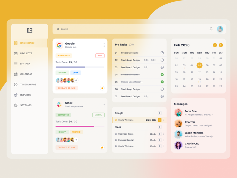 Project Management Dashboard web design ui project calendar task task management project management