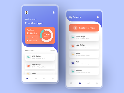 File Manager folders file sharing cloud storage cloud storage app design ui design app mobile app mobile file upload file file manager