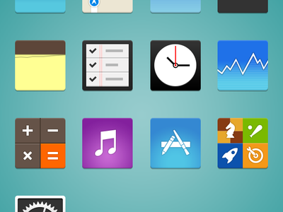 Free - PSD and Icons - Flat iOS iCons flat design ios icon icones set psd freebies goodies