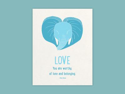 Elephant Love print art art print graphic design illustration