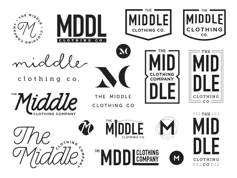 Middle Clothing Co logo sketches logo design branding logo