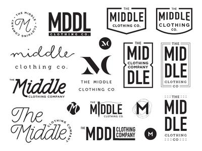 Middle Clothing Co logo sketches logo design branding logo