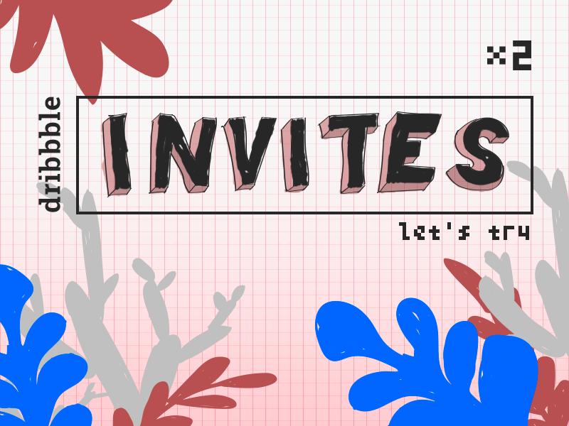2x Dribbble Invites illustration invitation design leafs handdrawn dribbble art invites invitations invitation