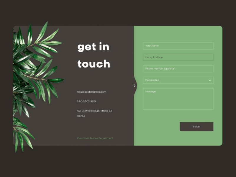 Contact Us Daily UI Challange contacts get in touch plant card website design ux dribbble dailyui challange uichallange ui