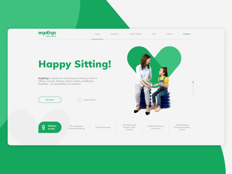ErgoErgo | Happy Sitting! happy green clear shop goods sitting concept website design ux ui