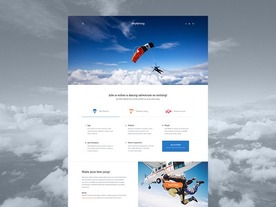 Skydiving user interface ui design skydiving layout ux india art direction interface webdesign