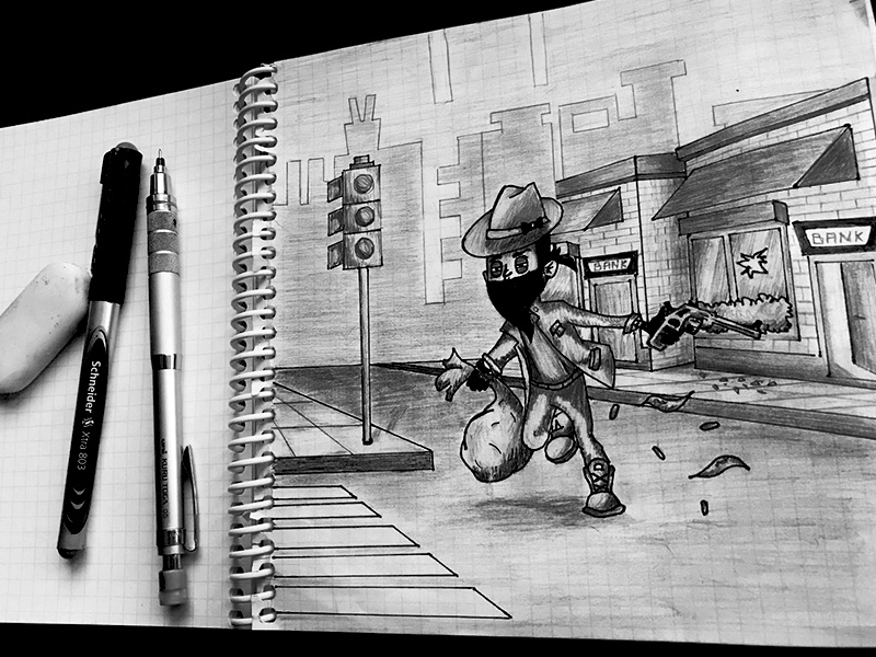 Ruuun !!!!!  The police is coming !! magazine wireframe sketch shadows illustration white black cartoon