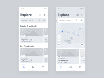 Paddl - Wireframe - Explore product interface ui ux app paddle