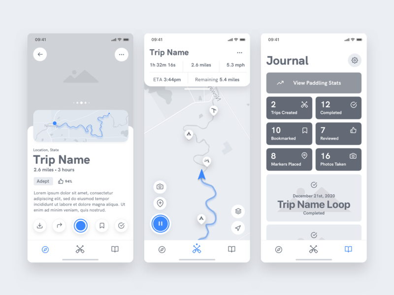 Paddl Wireframes ios paddl paddle app ui ux product interface