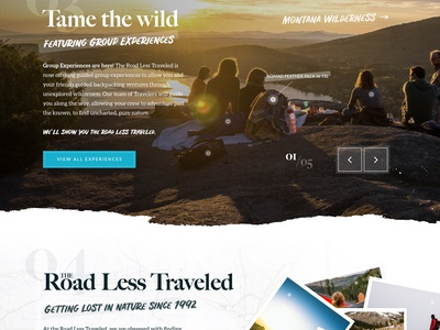 The Road Less Traveled - A Web Design Concept web design digital product interface homepage typography adventure outdoor ux ui website web