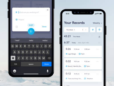 Tymr - Time Tracking iOS App Concept iphone x time tracking data analytics branding product interface app ios ux dashboard ui