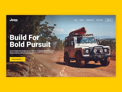 Daily UI 14 - Lending page website ux ui landing home branding agency car yellow