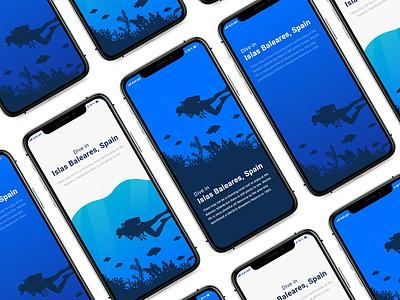 Diving app - Splash screen minimal typography splashscreen blue flat app web illustration ux ui design