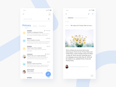 Gmail redesign—— 2 ui weather blue color design google gmail redesign
