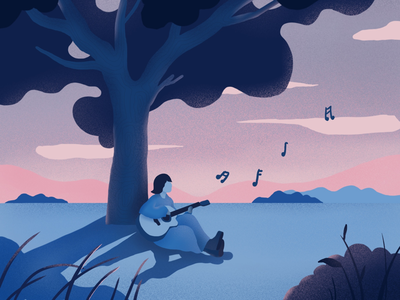 Afternoon time tree funny ipad guitar blue color design music ui