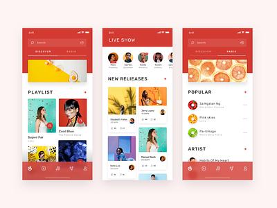 Music App 1 practise music red 颜色 设计 ui