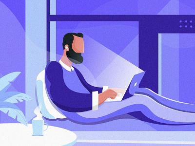 Night_practice1 man office 向量 purple 蓝色 颜色 设计 ui