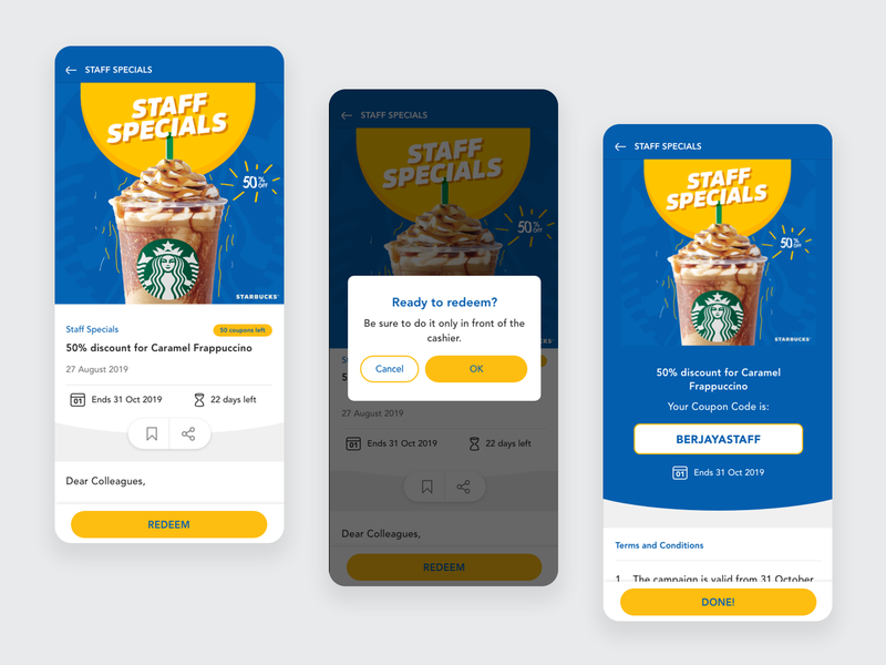 Buzz // Staff Special starbucks voucher redeem coupon staff promotion product design mobile mobile apps visual design ux ui