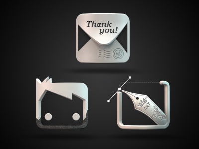 Icons for Personal website 3d icons pen letter face about contact works