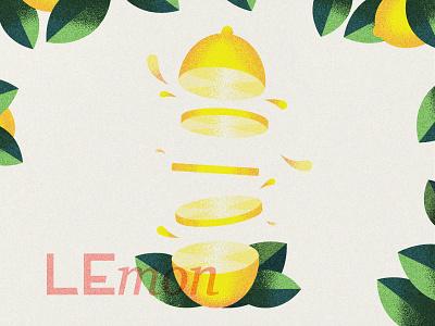 Lemon stipple grain fruit lemon vector illustration minimal design