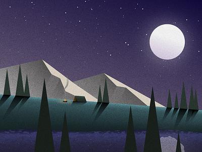 Night Times grain night moon mountains landscape minimal vector illustration design