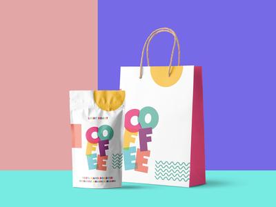 Coffee Shop Brand Concept bright fun colour bold packaging shop coffee branding brand design